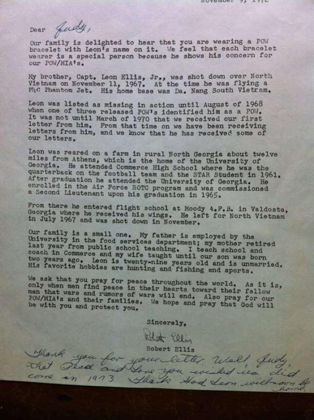Lee's family would personally write and mail letters to individuals who were wearing his POW bracelet. This is a copy of the letter that Judy received.