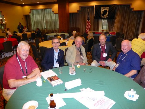 Lee with his POW buddies at the Nam Pow reunion – Col Bill Austin, Lee, General Chuck Boyd, Capt. (USN) Ray Alcorn, and Col Elmo Baker. Per Lee, they were all great cellmates over the years and fellow air warriors from the old days. They remain close friends after all these years.