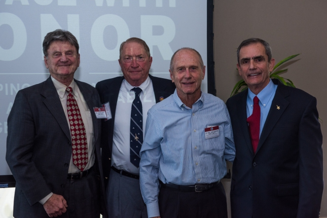 Attending Vietnam POWs at the Launch Event // From Left to Right – Col Kevin Cheney; Col Wayne Waddell USAF (Ret); Lt Col Ron Mastin USAF (Ret); Col Lee Ellis USAF (Ret)